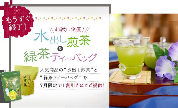 お試し企画!水出し煎茶&緑茶ティーバッグを7月限定で1割引にてご提供!